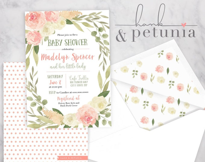 Pink Peonies Little Lady Baby Shower Invitation, Garden Baby Shower, Summer Baby Shower, Floral Baby Shower Invitation, Envelope Liner