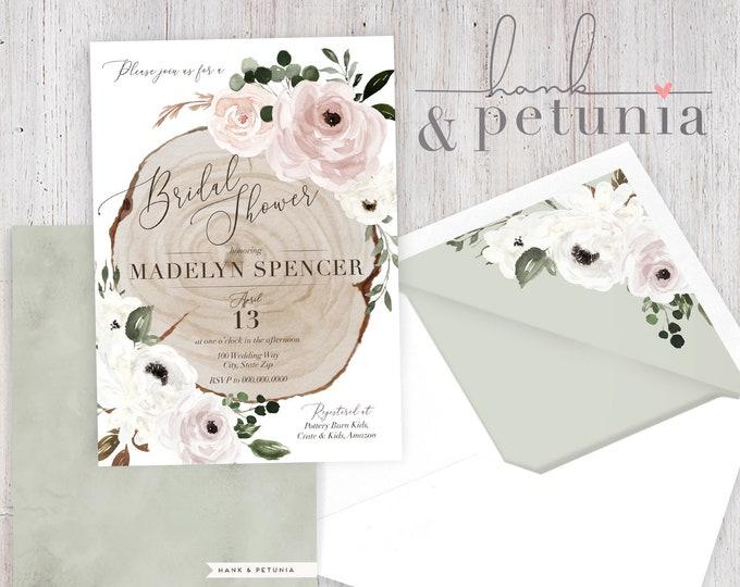 Dusty Pink and Sage Rustic Wood Slice Bridal Shower Invite, Woodland Bridal Shower, Wedding Shower Invitation, Envelope Liner