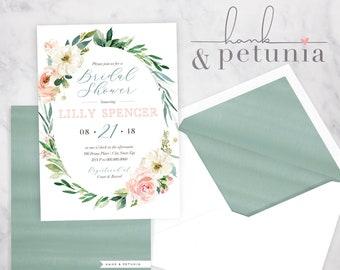 Watercolor Floral Bridal Shower Invitation, Floral Bridal Shower Invitation, Bridal Shower Invite, Envelope Liner