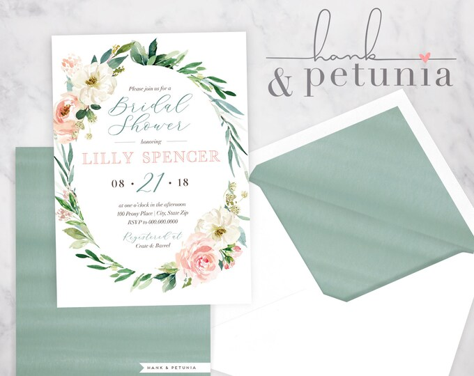 Watercolor Floral Bridal Shower Invitation, Floral Bridal Shower Invitation, Bridal Shower Invite, Envelope Liner
