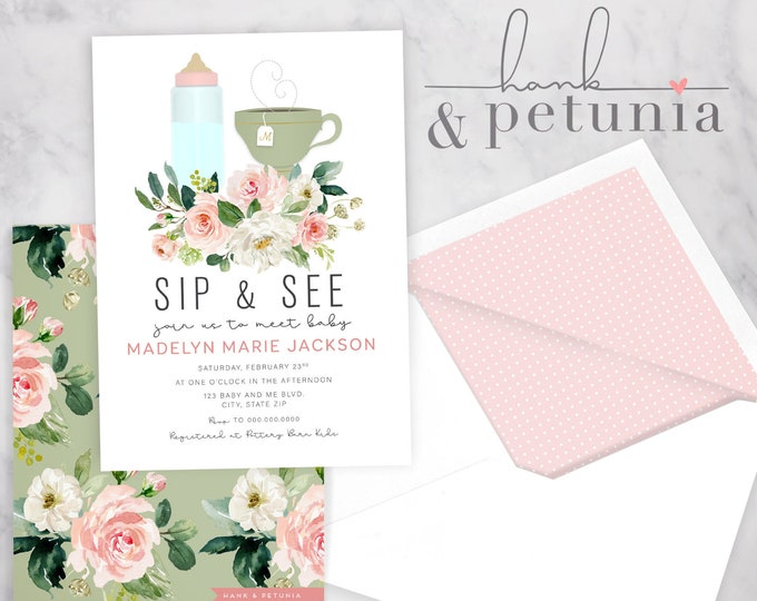 Sip and See Baby Shower Invitation, Sip and See Baby Shower, Baby Girl Shower Invite, Lined Envelopes