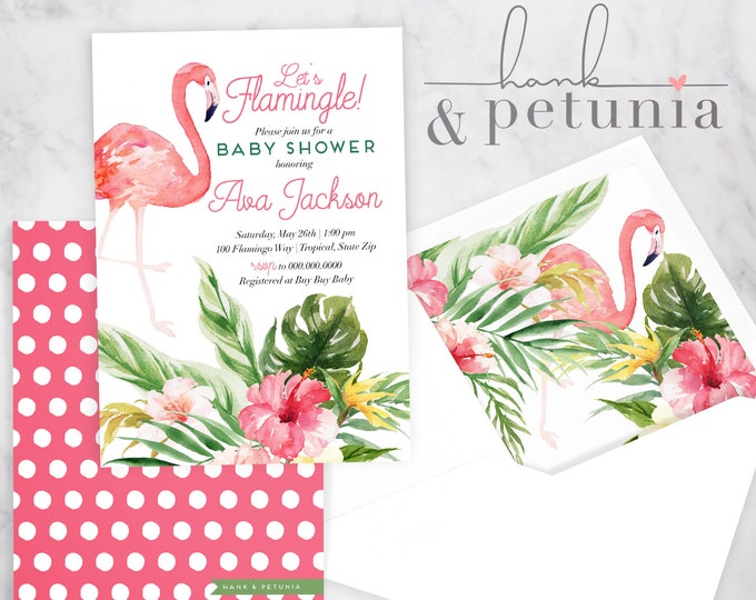 Tropical Flamingo Baby Shower Invitation, Baby Girl Shower, Baby Shower Invite, Flamingo Shower Invite, Lined Envelopes