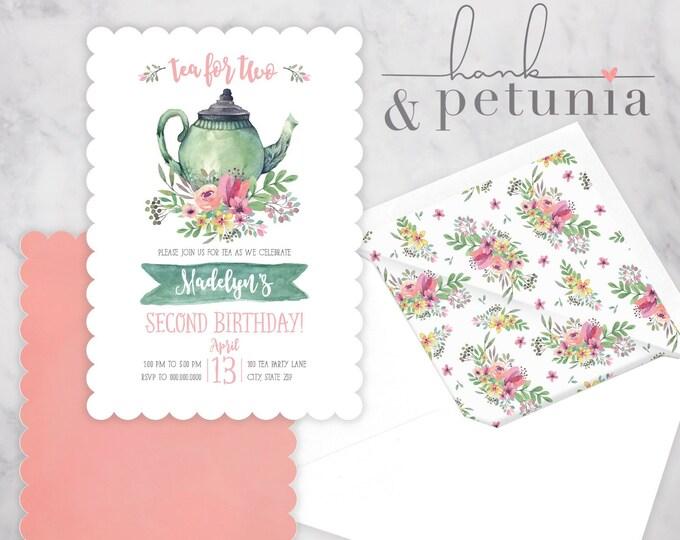 Tea Party Birthday Invite, Tea for Two Birthday Party Invitation, Tea Party Invitation, Envelope Liner