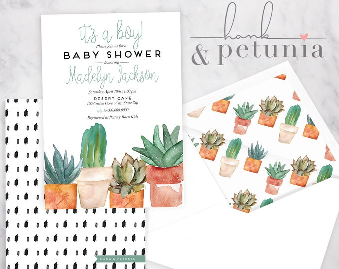 Watercolor Potted Succulent Baby Shower Invitation, Succulent Baby Shower, Baby Shower Invite, CactusShower Invite, Lined Envelopes