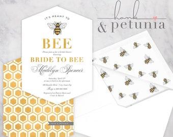 It's Meant to Bee Bridal Shower Invite, Honey Bee Bridal Shower, Bride to Bee Invitation, Bumble Bee Bridal Shower, Envelope Liner