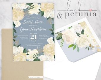 Ivory, Gold and Dusty Blue Floral Bridal Shower Invitation, Winter Bridal Shower Invitation, Christmas Bridal Shower Invite, Envelope Liner