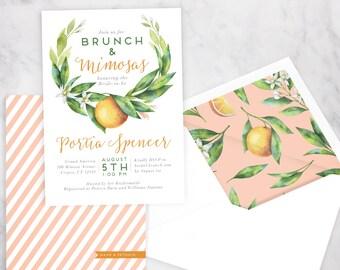 Watercolor Orange Floral Bridal Shower Brunch Invitation, Brunch & Mimosas Bridal Shower Invite, Envelope Liner