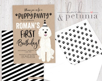 Puppy Party Birthday Party Invitation, Dog Party Invitation, Puppy Party Party, Birthday Invitation, Lined Envelopes