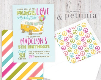 Peace Love and Birthday Cake Party Invitation, Hippie Party Invitation, 60's Party Party, Birthday Invitation, Lined Envelopes
