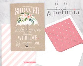 Baby Love Baby Shower Invitation, Rain Baby Shower Invitation, Umbrella Invite, Lined Envelopes