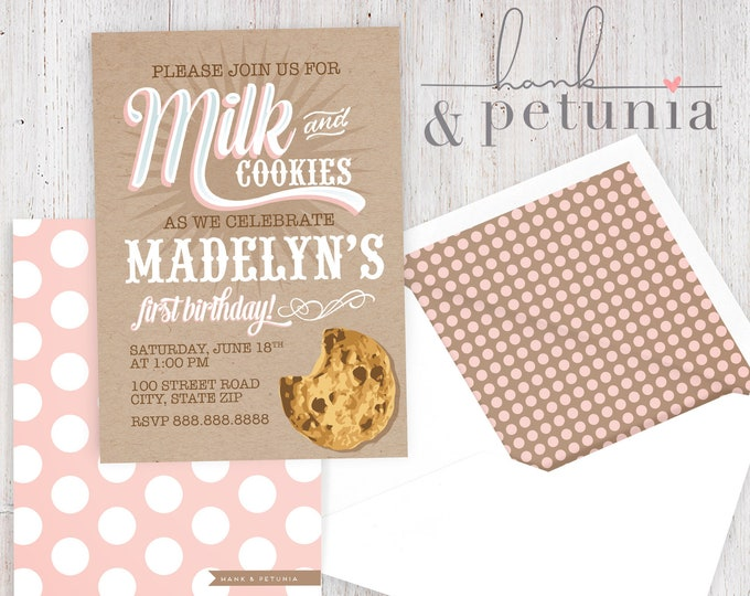 Milk & Cookies Birthday Party Invitation, Cookie Party Invitation, Bakery Party, Birthday Invitation, Lined Envelopes