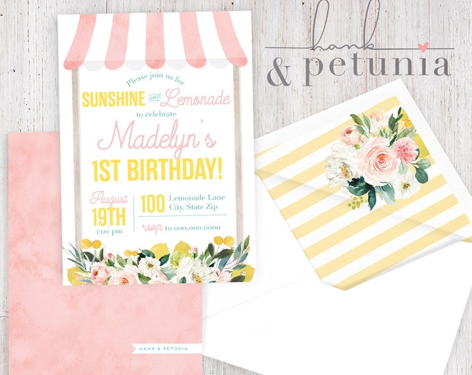 Pink Lemonade Birthday Party Invitation, Lemonade Stand Invitation, Summer Birthday Party Invite, Lined Envelopes
