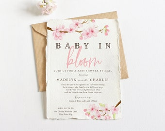 Baby in Bloom Spring Cherry Blossom Baby Shower Invitation, Spring Floral Baby Shower Digital Invite Template, Instant Download [id:5932898]
