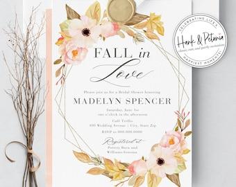 Beautiful Boho Rustic Fall Bridal Shower Invitations, Autumn Bridal Shower Invites, Fall In Love Bridal Shower Invites, Printed or Digital