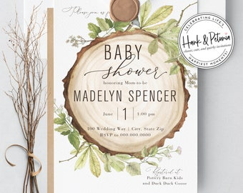Rustic Woodland Baby Shower Invitations, Gender Neutral Baby Shower Invitations, Lined Envelope