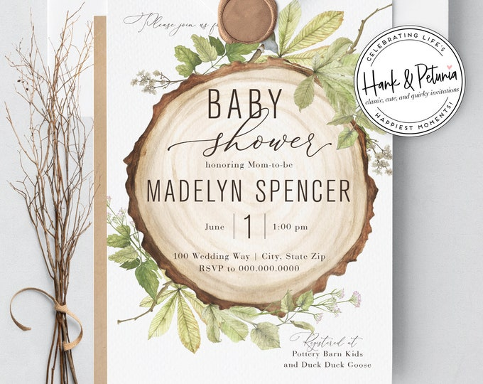 Featured listing image: Rustic Woodland Baby Shower Invitations, Gender Neutral Baby Shower Invitations, Lined Envelope