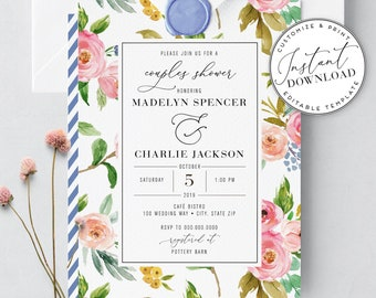 Couples Wedding Shower Invitations, Watercolor Floral Couples Shower Invites, Instant Download [id:2025229,2025279]