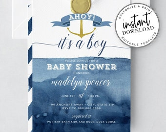 Cute Nautical Instant Download Baby Shower Invitation, Boy Baby Shower Invites, Ahoy it's a Boy! Instant Download [id:2032043,2036470]