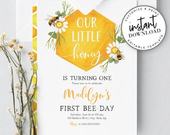 Little Honey Birthday Party Invites, Bee - Day Invitations, Bee Party Invitations and Envelope Liner, Instant Download [id:2041439,2041771]