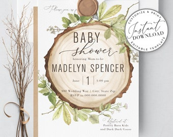 Rustic Woodland Baby Shower Invitation Template, Gender Neutral Baby Shower Invitation, Instant Download [id:1939811,1940095]