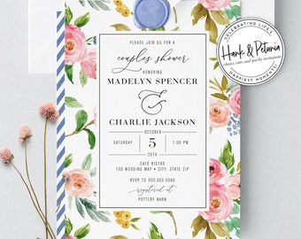 Couples Wedding Shower or Couples Baby Shower Invitation, Couples Party Invitations, Digital or Printed Invitations