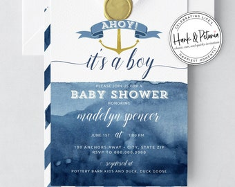 Cute Nautical Baby Shower, Gold Anchor Baby Shower, Boy Shower Invitation, Watercolor Shower Invite, Lined Envelope