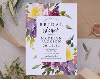 Customizable Purple Floral Bridal Shower Invitation, Watercolor Floral Bridal Shower Invite Template, Instant Download [id:8655582]