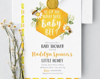 Honey Bee Baby Shower Invitation, Hunny Bee Baby Shower Invites, Bumble Bee Baby Shower Invitation, What Will Baby Bee, Bee Gender Reveal