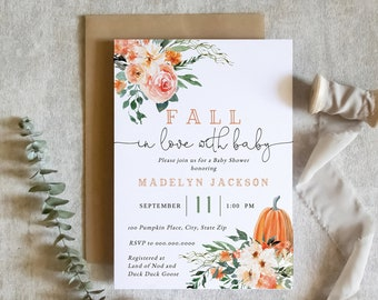 Customizable Fall In Love with Baby Shower Invitation, Autumn Pumpkin Baby Shower Invite Template, Instant Download [id:8620367]