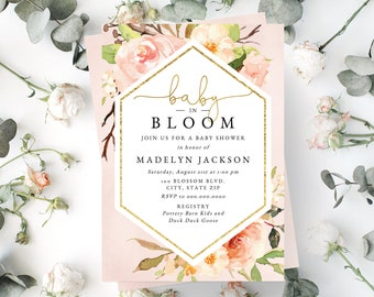 Baby In Bloom Floral Baby Shower Invitation, Watercolor Floral Baby Shower Digital Invite Template, Shower Instant Download [id:5235924]