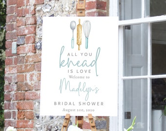 Customizable Kitchen Bridal Shower Welcome Sign, Recipe Shower Welcome Sign Template, Bridal Shower Sign Instant Download [id:5455899]
