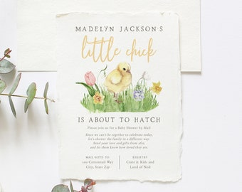 Little Chick Spring Baby Shower By Mail Invitation,  Spring Chick Floral Baby Shower Digital Invite Template, Instant Download [id:5810540]