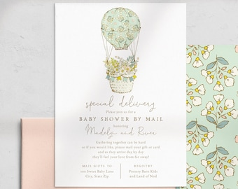 Hot Air Balloon Baby Shower By Mail Invitation, Special Delivery Baby Shower Digital Invite Template, Instant Download [id:4621663,4622122]