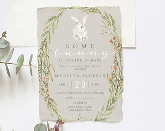 Bunny Spring Baby Shower Invitation, Spring Floral Baby Shower Digital Invite Template, Bunny Rabbit Instant Download [id:5930927]