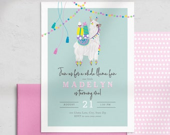 Llama Birthday Party Invitation, Little Llama Birthday Invite Template, Birthday Party Invitation Instant Download [id:4534938,4535318]
