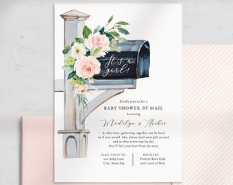 It's a Girl Baby Shower By Mail Invitation, Pink It's a Girl Baby Shower Digital Invite Template, Instant Download [id:4509331,4509657]