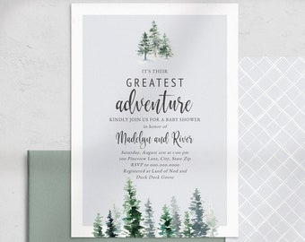 Greatest Adventure Baby Shower Invitation, Forest Pine Tree Baby Shower Digital Invite Template, Instant Download [id:4533314,4533547]