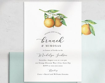 Brunch & Mimosas Bridal Shower Invitation, Brunch and Bubbly Bridal Shower Digital Invite Template, Instant Download [id:4495990,4496838]
