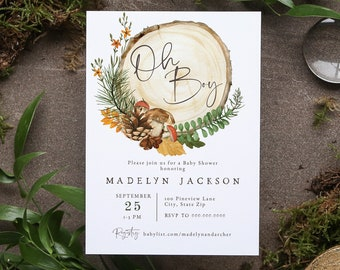Customizable Oh Boy Fall Woodland Baby Shower Invitation, Autumn Forest Baby Shower Invite Template, Instant Download [id:8641734]