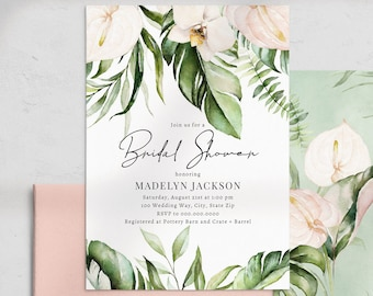 Jungle Bridal Shower Invitation, Tropical Orchid Bridal Shower Invite Template, Instant Download [id:4480377,4480480]