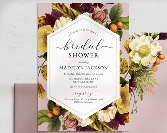 Fall Bridal Shower Invitation, Autumn Bouquet Bridal Shower Invite Template, Harvest Bridal Shower Instant Download [id:4615687,4615962]