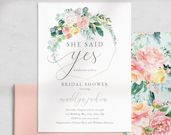Mint and Coral Floral Bridal Shower Invitation, Gold Geometric Floral Bridal Shower Invite Template, Instant Download [id:4464995,4465074]