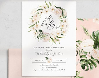 Oh Baby Tropical Baby Shower Invitation, Tropical Baby Shower Digital Invite Template, Instant Download [id:4482059,4482061]