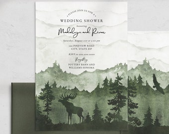 Mountain and Pine Tree Couples Shower Invitation, Green Into the Woods Wedding Shower Invite Template, Instant Download [id:4515304,4515799]