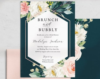 Brunch and Bubbly Bridal Shower Invitation, Bridal Brunch Shower Invite Template, Floral Watercolor Instant Download [id:4541661,4542734]