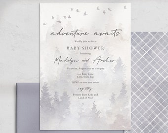 Adventure Awaits Baby Shower Invitation, Misty Forest Pine Tree Baby Shower Digital Invite Template, Instant Download [id:4514603,4514845]