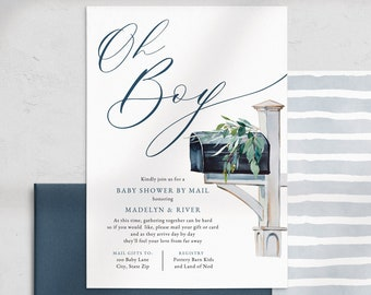 Oh Boy Baby Shower By Mail Invitation, Baby Boy Social Distancing Baby Shower Digital Invite Template, Instant Download [id:5178169]