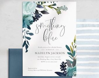 Something Blue Floral Bridal Shower Invitation, Blue Bridal Shower Invite Template, Watercolor Bridal Shower Instant Download [id:5206938]