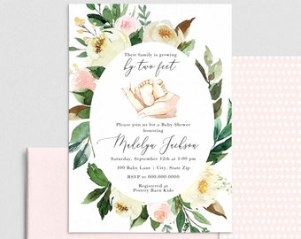 Two Feet Baby Shower Invitation, Baby Feet Baby Shower Invite Template, Pink Floral Baby Shower Instant Download [id:4392442,4392573]