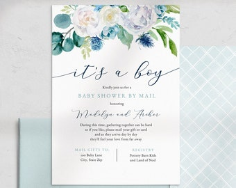 It's a Boy Baby Shower By Mail Invitation, Blue It's a Boy Baby Shower Digital Invite Template, Shower Instant Download [id:4502589,4481020]